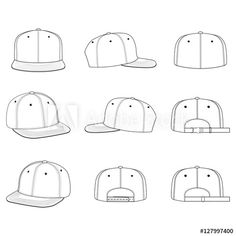 236x236 Baseball Cap Vector Illustration Flat Sketches Template
