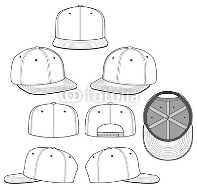 400x387 Snapback 2018 White Vector Illustration Flat Sketches Template