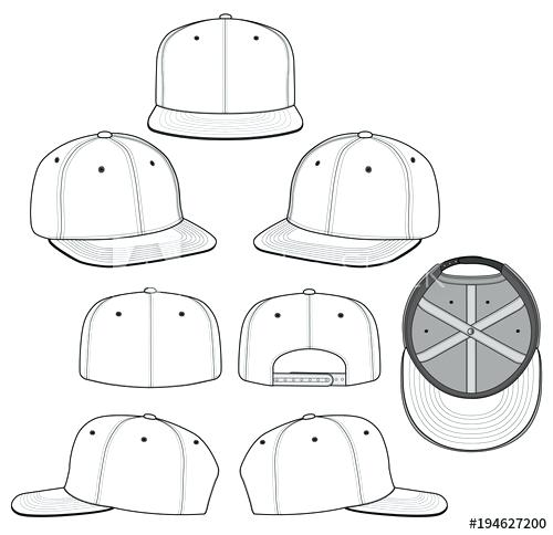 500x484 Snapback Template Embroidery Cap Set Modclothing.co