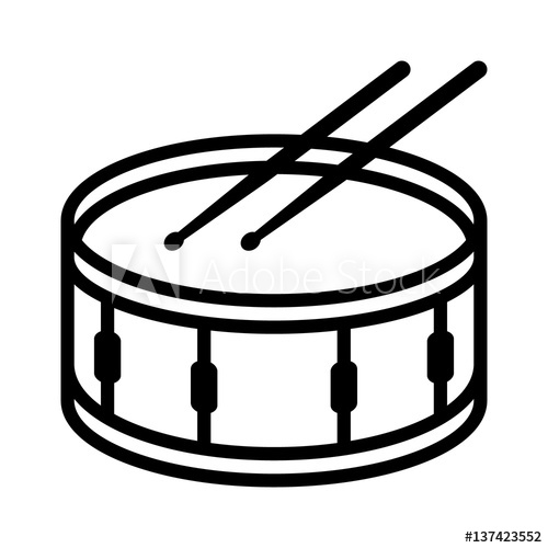 500x500 Snare Drum Or Side Drum With Drumsticks Musical Instrument Line