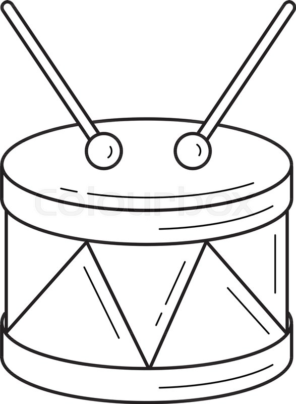 587x800 Snare Drum Vector Line Icon Isolated On White Background. Snare