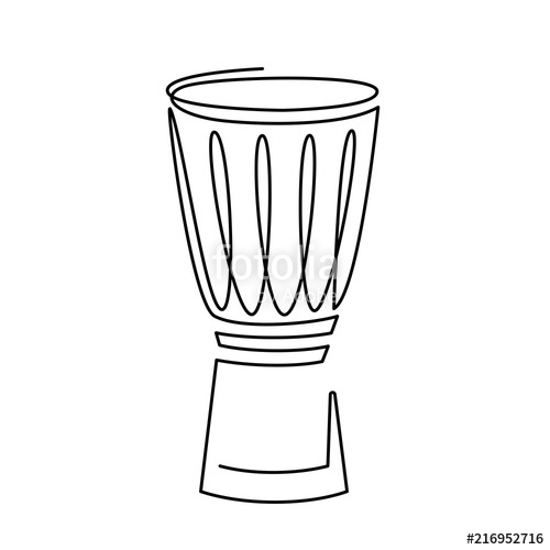 500x500 Continuous Line Drawing Of Snare Drum Vector Icon. Musical