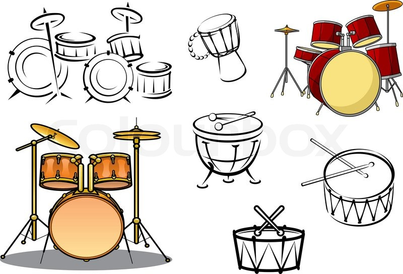 800x544 Drum Sets, Timpani, Snare Drum, Bass Drum And Congas In Cartoon