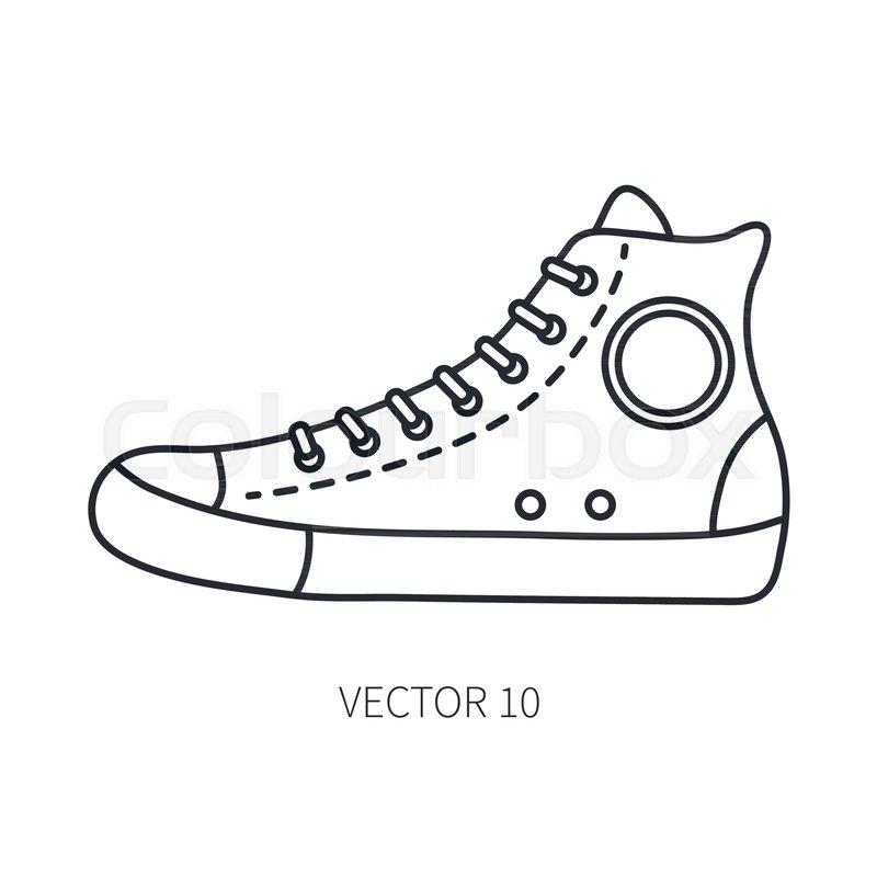 800x800 Retro Travel Shoe Sneaker Vector Line Icon. Summer Travel Vacation
