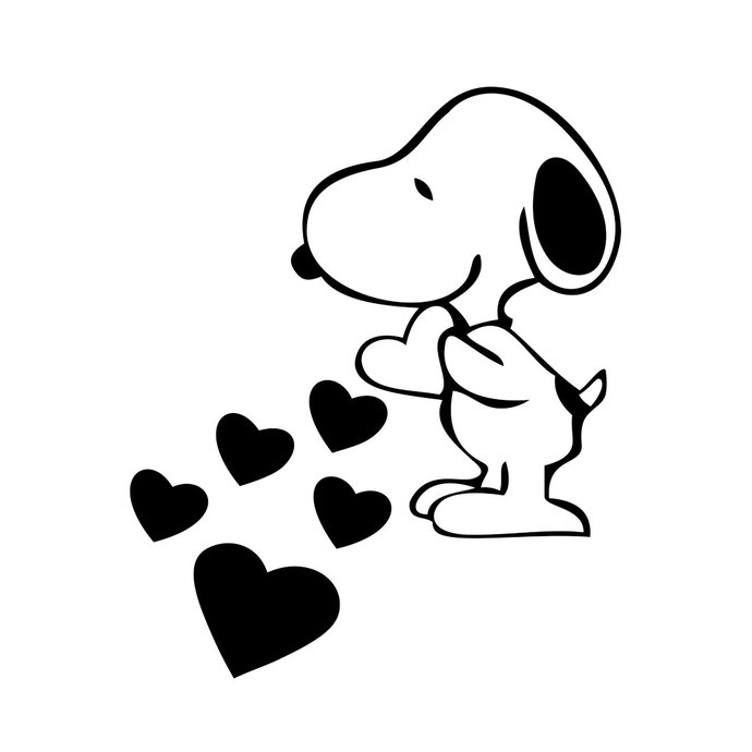 690x690 Snoopy Love Hearts Graphics Design Svg Dxf By Vectordesign On Zibbet
