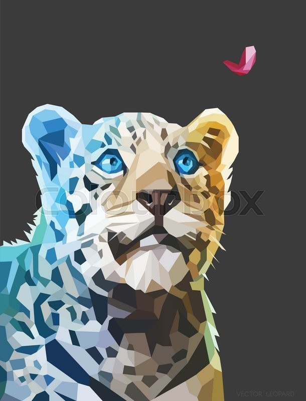 610x800 Low Poly Geometric Portrait Of A Leopard Looking