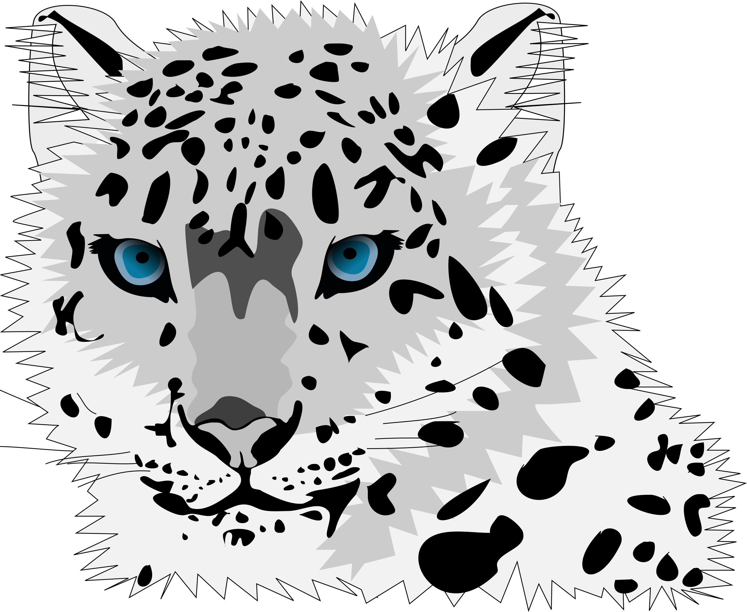 2400x1968 Snow Leopard Vector Graphic Image
