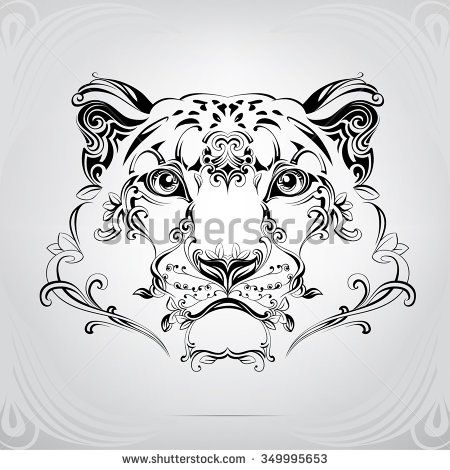 450x470 The Head Of A Snow Leopard In An Ornament