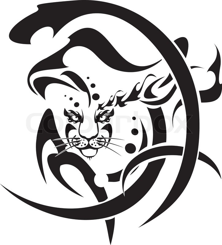 724x800 Tribal Snow Leopard Head Symbol, Vector. Black On The White