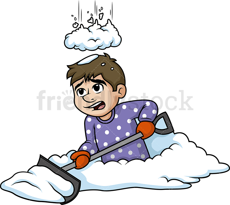 798x710 Pile Of Snow Falling On Man Cartoon Clipart Vector