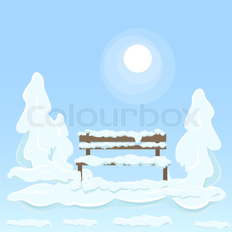 800x800 Wooden Isolated Bench Under White Snow Between Covered With Great