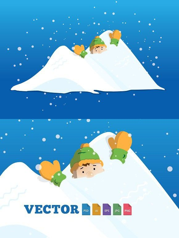 580x772 Boy Character Stuck In Snow Pile