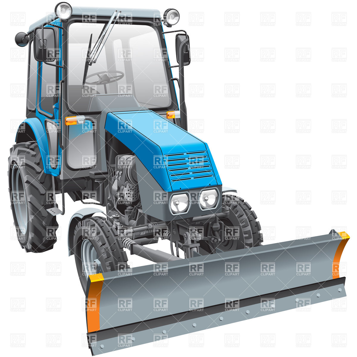 1200x1200 Snow Plow Wheeled Tractor With Dipper Vector Image Vector