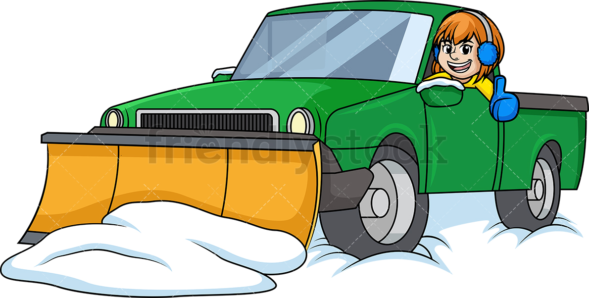 1190x602 Woman In Snow Plow Truck Cartoon Clipart Vector