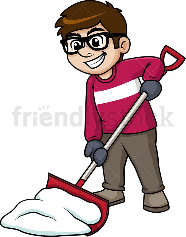 625x798 Man Shoveling Snow Cartoon Clipart Vector