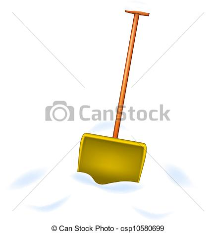 436x470 Snow Shovel Standing In Snow On White Background.