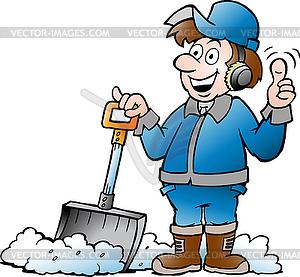 300x277 Cartoon Happy Handyman Worker With His Snow Shovel