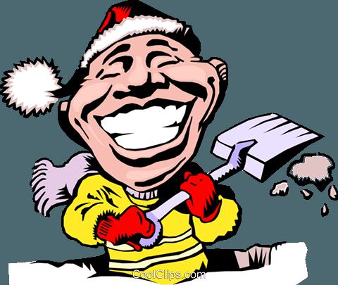 480x405 Cartoon Snow Shovel Royalty Free Vector Clip Art Illustration