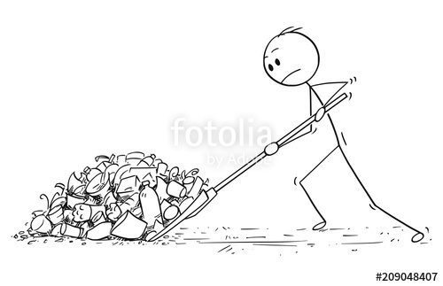500x323 Cartoon Stick Drawing Conceptual Illustration Of Man With Snow