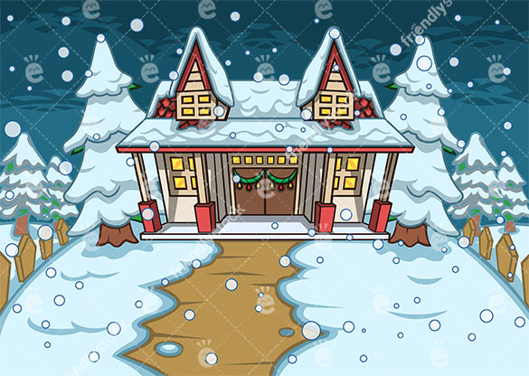 585x416 House With A Yard All Covered In Snow Vector Background