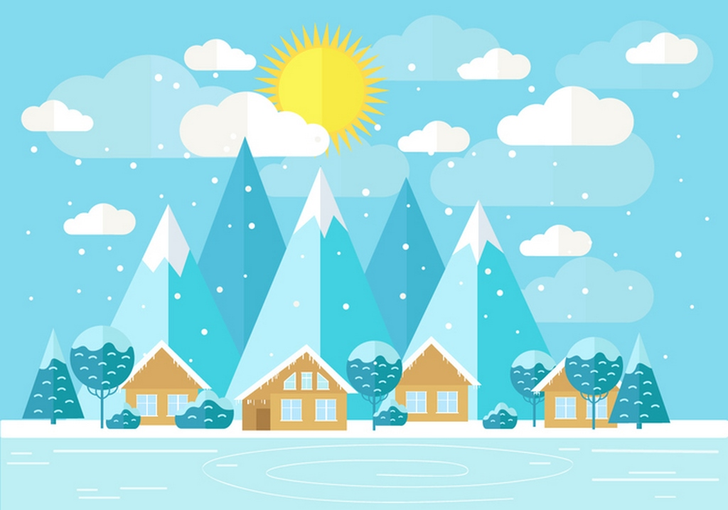 1024x717 House Snow Vector Free Download Ai Files
