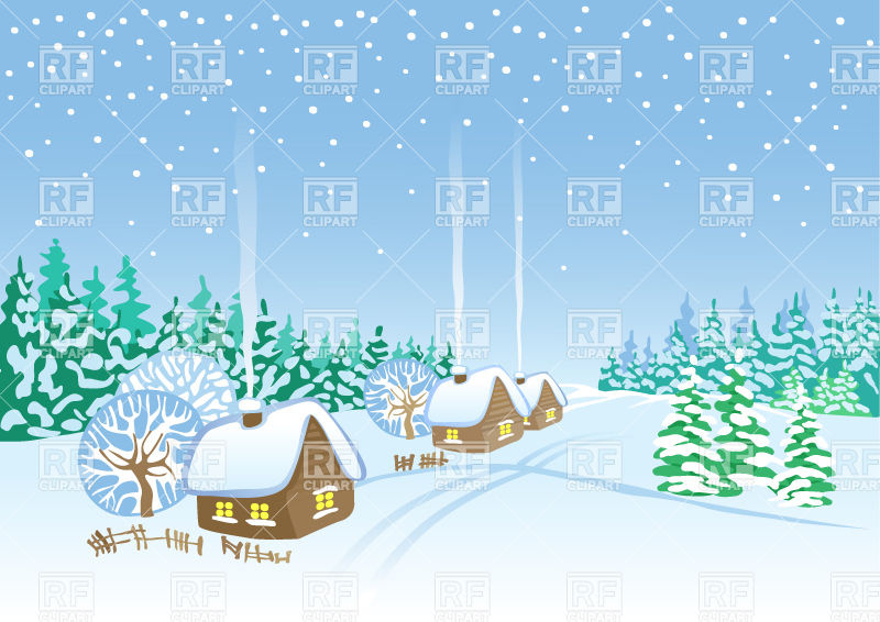 800x566 Winter Village Landscape Huts And Forest Covered With Snow Vector