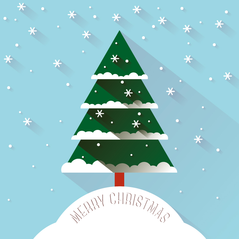 810x810 Christmas Snow Tree Vector Free Vector Graphic Download