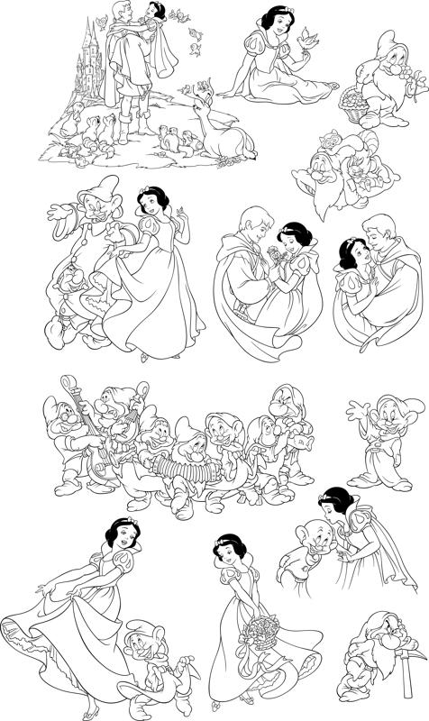 476x800 Snow White And The Seven Dwarfs Line Art Free Vector Download