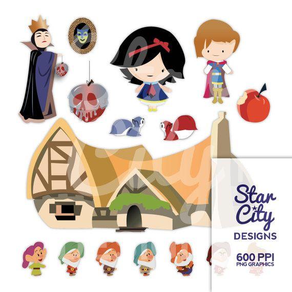 570x570 Snow White Clipart, Poison Apple Clipart, Cottage Clipart, Dwarf