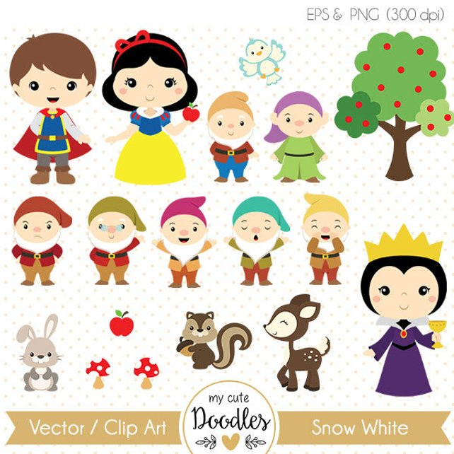 642x642 Snow White Clipart Princess Vector Snow White Baby Party Etsy