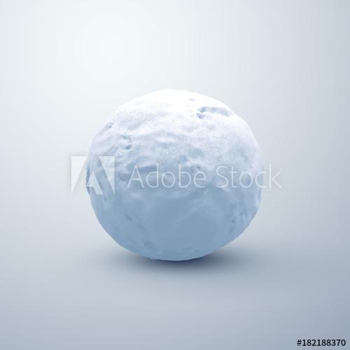 500x500 Realistic Snowball. Vector Seasonal Illustration.