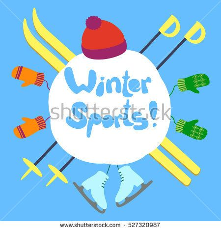 450x470 Winter Sports Text. A Snowball On A Background. Vector
