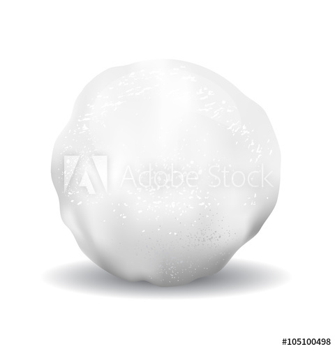480x500 Snowball Vector Icon Illustration With Textures Isolated Object