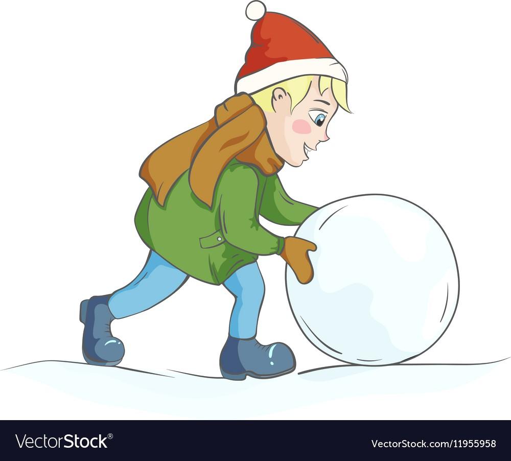 1000x902 Boy Rolling A Snowball Vector 11955958 18 Clipart
