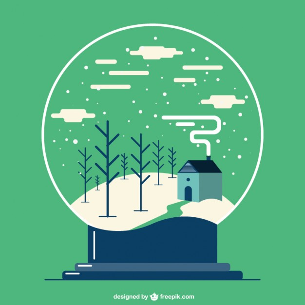 626x626 Christmas Snowball Globe With Winter Landscape Vector Free Download