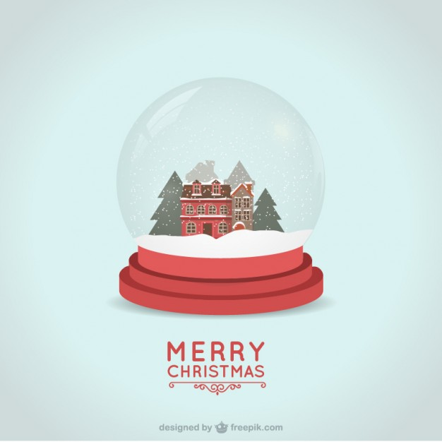 626x626 Christmas Card With Snowball Vector Premium Download