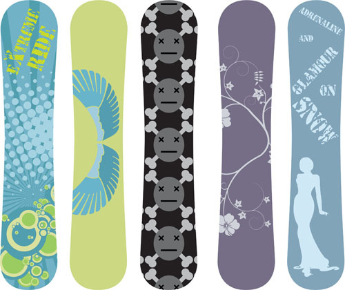 500x420 Modern Snowboard Vector Template Design Free Vector In