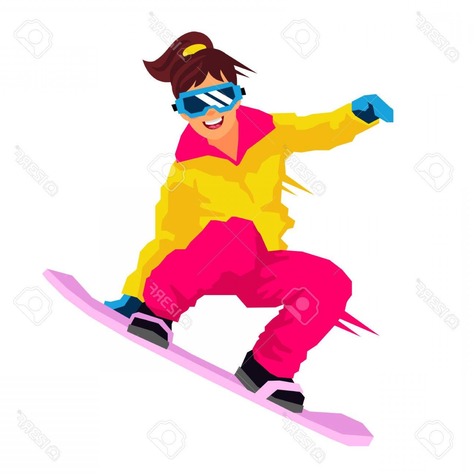 1560x1560 Photostock Vector Cool Girl Riding A Snowboard Vector Illustration