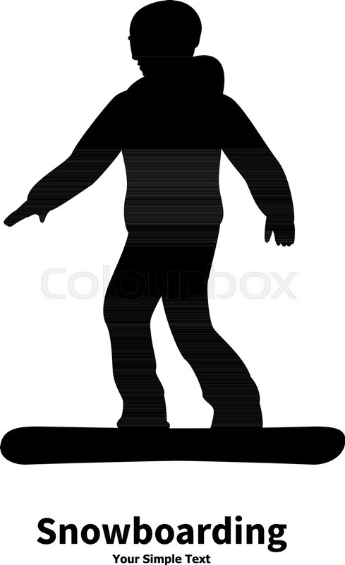 489x800 Vector Illustration Of Black Silhouette Of A Snowboarder. Drawing