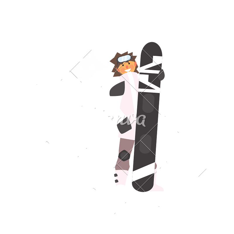 800x800 Boy Wearing Goggles Holding Snowboard. Vector Illustration