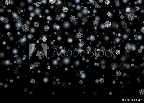 500x357 Falling Snow. Christmas, New Year Card Template With Black