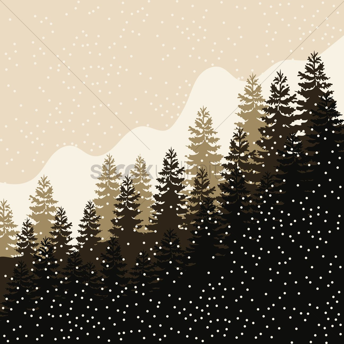 1300x1300 Forest Landscape With Snowfall Vector Image