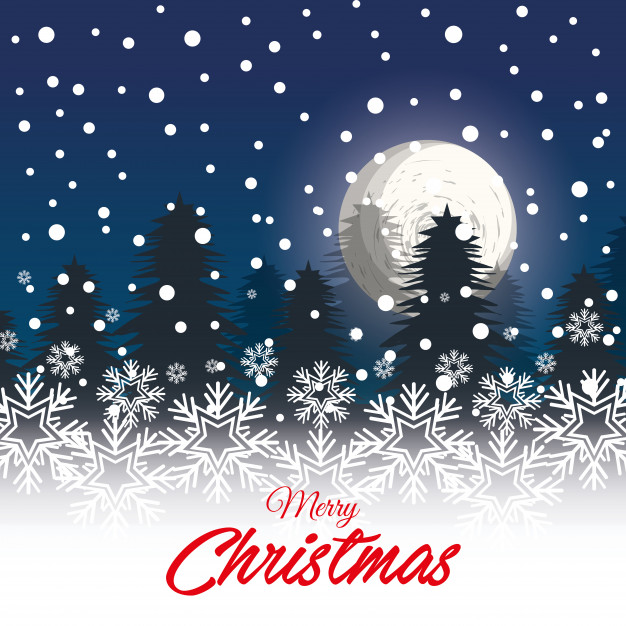 626x626 Greeting Christmas With Landscape Snowfall Vector Premium Download