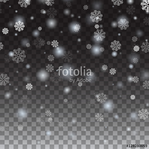 500x500 Isolated Falling Snow On A Transparent Background. Falling