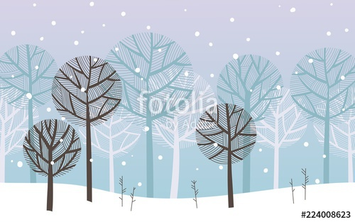 500x313 Landscape With A Winter Forest. Silhouettes Of Trees Under A