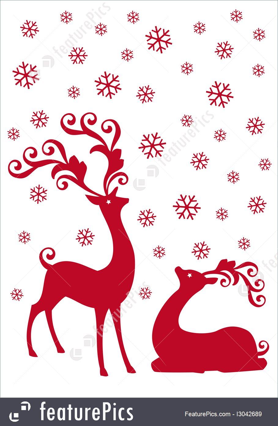 909x1392 Reindeer In Snowfall, Vector