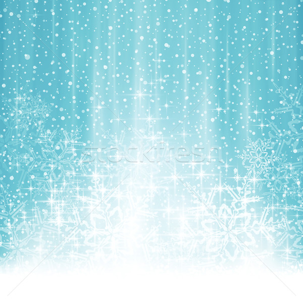 600x600 Abstract White Blue Winter Christmas Background With Snowfall