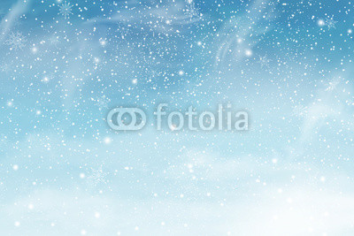 400x267 Winter Christmas Sky With Falling Snow. Snowflakes, Snowfall