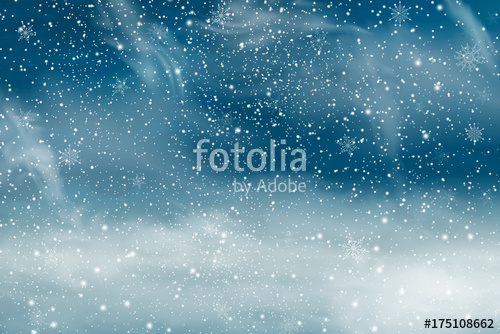 500x334 Winter Landscape With Falling Christmas Snow. Snowflakes, Snowfall