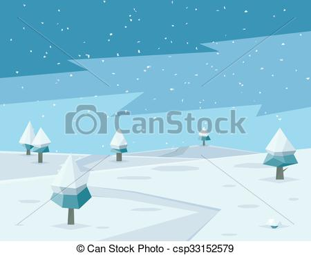 450x369 Winter Low Poly Background With Road And Polygonal Firs Trees